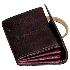 Petite Brown Leather Fashion Doll Calling Card Case