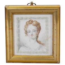 French watercolor Portrait circa late 18th C.