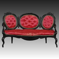 American Rococo Revival Sofa for Large Scale Dollhouse