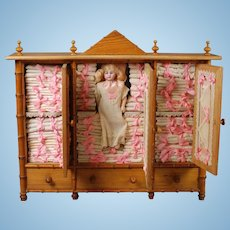 French Linen Cabinet with Simon & Halbig Doll