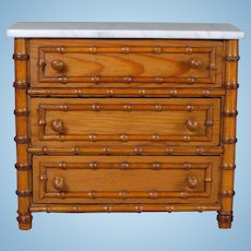 French Faux Bamboo Chest of Drawers for Dolls