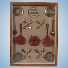 French-made Set of Stamped Metal Kitchenware - Framed - Museum Quality
