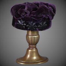 """""""Pork Pie"""" Style Doll Hat Purple Silk Velvet"""