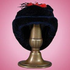 Doll Hat in Blue Silk Velvet
