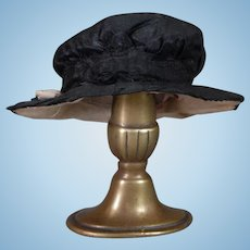 Doll Hat in Black Silk Taffeta