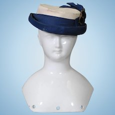 Antique Doll Hat in Cream-painted Stiffened Canvas