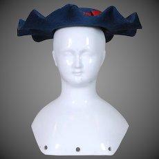 Doll Hat in Blue Wool Felt