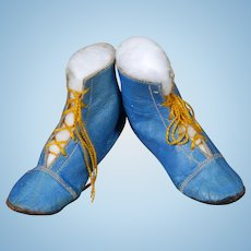 Blue Lace-up Doll Boots