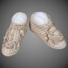 Doll Shoes in Cream Quilted Satin