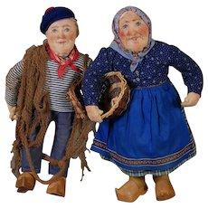 Pair of Bernard Ravca Fisher Folk Dolls