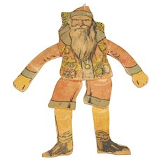 Early St. Nick-themed Wood and Printed Paper Jumping Jack Toy
