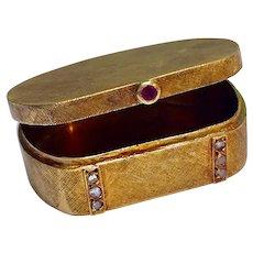 Antique Art Deco 14K Gold Old Rose Cut Diamond Ruby Pillbox Pill Box Snuff