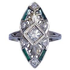 Art Deco Old Mine Cut Diamond Emerald 18K White Gold Ring