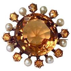 Antique Victorian Citrine Pearl 14K Gold Brooch Pin