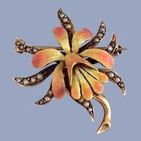 Antique Art Nouveau Orchid Flower 14K Gold Enamel Pearl Brooch