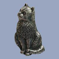 Rare Antique Victorian Kitten Cat 900 Silver Brooch Pin
