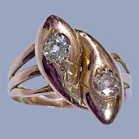 "Antique Old Mine Diamond Toi Et Moi ""You & Me"" Snake 14K Gold Engagement Wedding Victorian Serpent Ring"