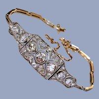 Antique French Art Nouveau Edwardian Belle Epoque Old European Cut Diamond Platinum 18K Gold Bracelet