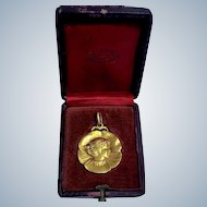 Antique 18K Gold Art Nouveau Pansy Woman Pendant In Fitted Box