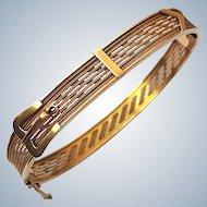 Large Victorian 14K Gold  Belt Buckle Antique Bangle Bracelet