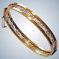 Antique Alling & Co 14K Gold Art Nouveau Bangle Bracelet