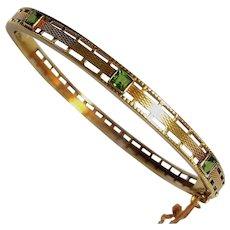 Rare Antique 14K Gold Peridot Art Nouveau Bangle Bracelet