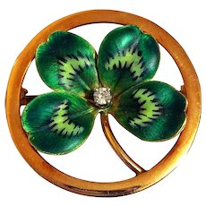 Antique Krementz 14k Gold Enamel Diamond Clover Shamrock Art Nouveau Brooch Pin