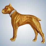 Fine Antique Edwardian Diamond Ruby 14K Gold Boxer Dog Art Deco Brooch Pin