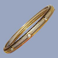 Antique Art Deco Diamond 14K Gold Filigree Vintage Bangle Bracelet