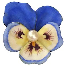 Antique LARGE Larter & Sons 14K Gold Enamel Pansy Pearl Art Nouveau Brooch Pin