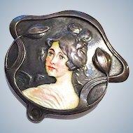 Antique American Enamel Miniature Portrait Art Nouveau Jugendstil Woman Sterling Silver Brooch