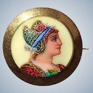 Antique 18K Gold Enamel Goddess Victorian Portrait Brooch Pin