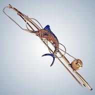 Book Masterpiece! Sloan Art Deco 14K Gold Enamel Ruby Pearl Fishing Pole Brooch