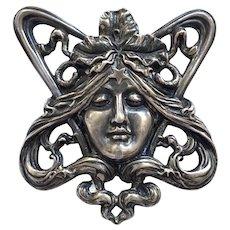 Rare Unger Bros Antique Art Nouveau Goddess Sterling Silver Brooch
