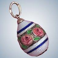 Russian Enamel Egg 56 Gold Guilloche Roses 14K Easter Pendant Charm