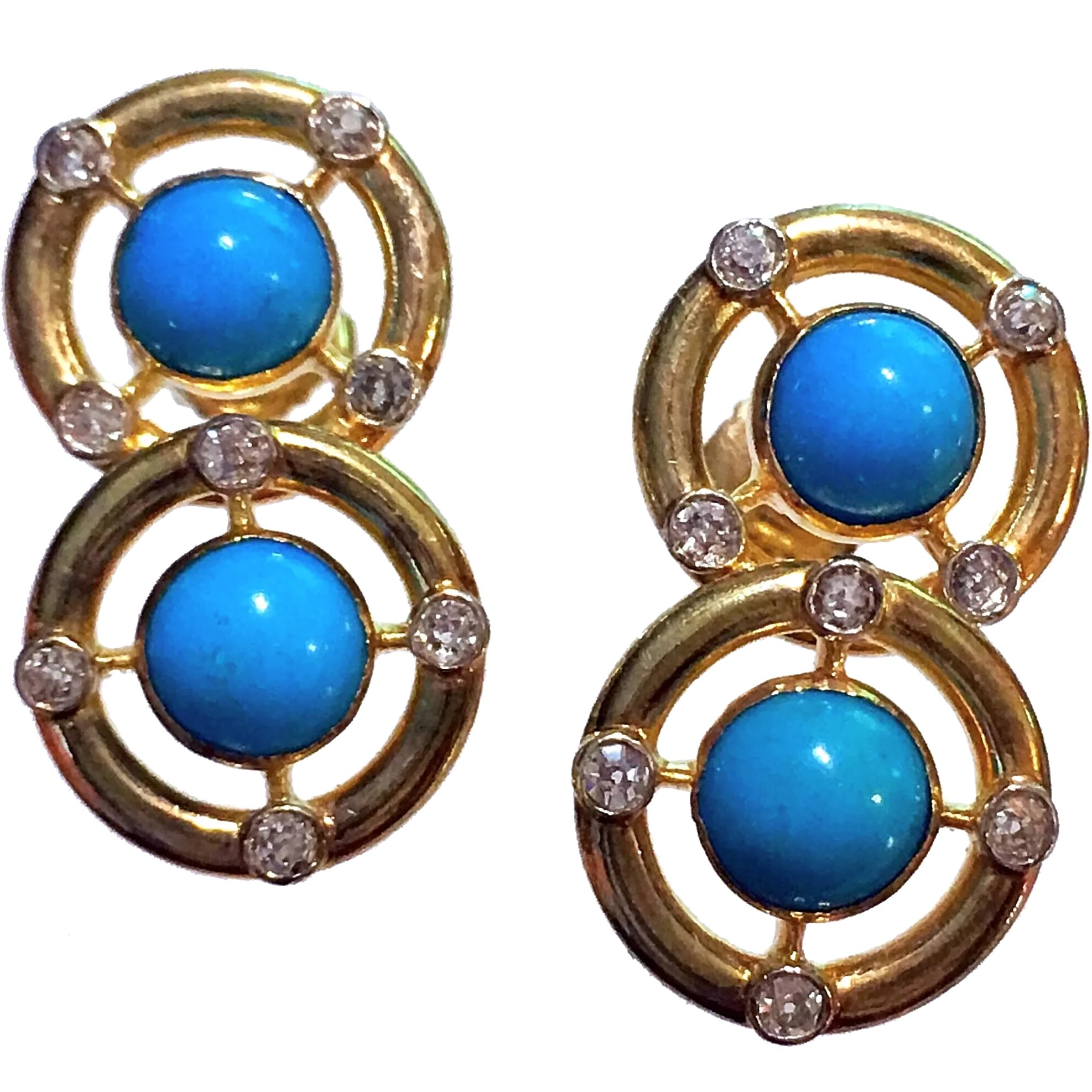 Vintage 14k Gold Turquoise Diamond Earrings Antique Jewelry Expo