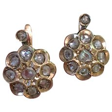 Antique Victorian Old Rose Cut Diamond Cluster 14K Gold Earrings