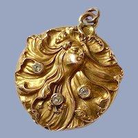 Antique 14K Gold Diamond Art Nouveau Nymph Woman Figural Locket Pendant