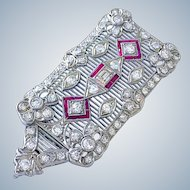 Antique Edwardian Platinum Diamond Ruby Pendant Brooch Belle Epoque