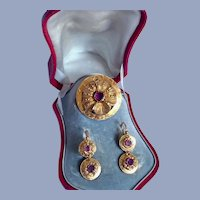 Rare Antique French 18K Gold Tourmaline Victorian Parure Earrings Brooch Set Original Leather Box Fitted Case