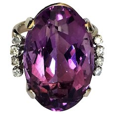 Art Deco 16CT Amethyst Diamond 14K White Gold Vintage Ring