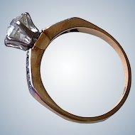 Antique .80CT Old European Cut Diamond Edwardian 14K Wedding Engagement Ring