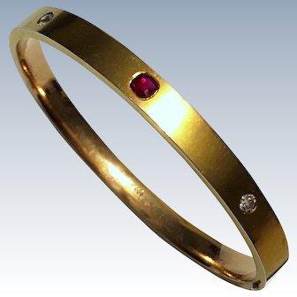 Antique Natural Ruby Diamond 14K Gold Carter & Howe Art Nouveau Bangle Bracelet