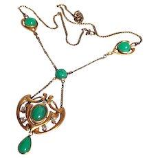 Antique Art Nouveau 14K Gold Chrysoprase Diamond Necklace Lavaliere