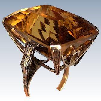 Art Deco Retro 45 Carat Citrine Emerald Cut 14K Gold Vintage Ring