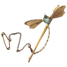 Antique Art Nouveau 9CT Gold Dragonfly Brooch Aquamarine Paste with Chain Pin