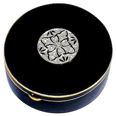 Superb Art Deco Diamond Enamel Platinum 14K Gold Pill Box Snuff Powder Compact