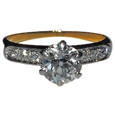 Antique .83ct Old European-Cut Diamond Solitaire Engagement Wedding Cocktail 14K Gold Platinum Ring