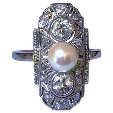 Art Deco Old Mine Cut Diamond Platinum 14K Cultured Pearl Vintage Ring