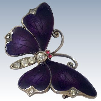Antique Guilloche Enamel Butterfly 935 Silver Victorian Brooch